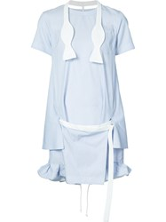 Sacai Short Striped Dress With Tie Blue