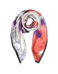 Mila Schon Floral Print Twill Silk Squre Scarf Purple Red