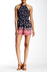 Flying Tomato Printed Halter Romper Blue