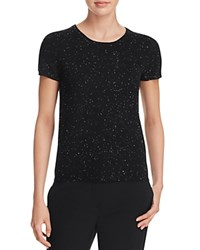 Bloomingdale's C By Short Sleeve Cashmere Sweater Black Donegal