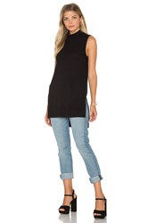 Splendid Sylvie Rib Turtleneck Tunic Tank Black