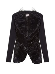 Christopher Kane Pleat Front Collarless Crepe Jacket Black