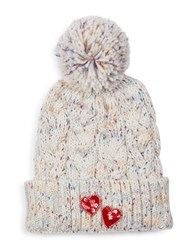 Bow And Drape Sequined Heart Pom Hat White