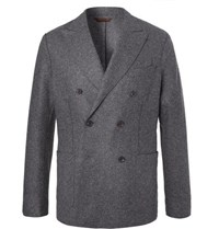 Altea Charcoal Slim Fit Unstructured Double Breasted Virgin Wool Blend Blazer