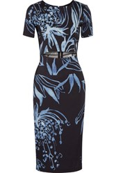 Suno Cutout Printed Stretch Silk Crepe Dress Midnight Blue
