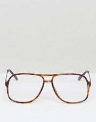 Asos Navigator Glasses With Clear Lens Brown