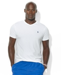Polo Ralph Lauren Big And Tall Classic Fit V Neck Short Sleeve Cotton Jersey T Shirt White