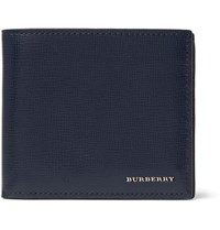 Burberry Cross Grain Leather Billfold Wallet Blue