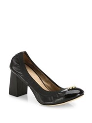 Tory Burch Jolie Cap Toe Leather Block Heel Pumps Black Beige