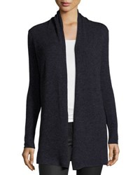 In Cashmere Marled Yarn Open Front Cardigan Black Blue