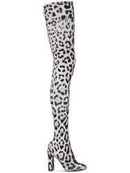 Dolce And Gabbana 105Mm Leopard Print Stretch Jersey Boots