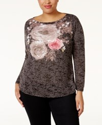Inc International Concepts Plus Size Sequined Burnout Top Only At Macy's Deep Black