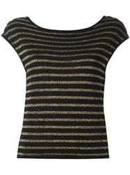 Saint Laurent Striped Knitted Top Black