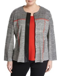 Ming Wang Zip Front Tailored Jacket W Faux Leather Trim Multi