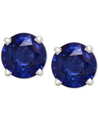 Effy Collection Royale Bleu By Effy Sapphire Round Stud Earrings 2 Ct. T.W. In 14K White Gold Blue