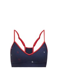 The Upside Andie Heart Print Sports Bra Navy Multi