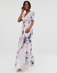 Little Mistress Kimono Sleeve Printed Maxi Dress Multi