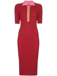 Sjyp Contrast Collar Ribbed Knitted Dress Red