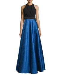 Carmen Marc Valvo Sleeveless Ponte And Taffeta Combo Gown Black Royal Black Royal