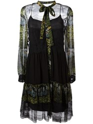 Alberta Ferretti Floral Print Sheer Dress Black