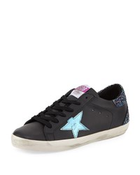 Golden Goose Superstar Leather Platform Low Top Sneakers With Glitter Back Black Metal Sky
