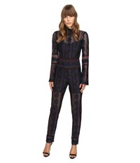 Yigal Azrouel Rose Embroidered Lace Jumpsuit W Bell Sleeves Jet Multi