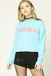 Forever 21 Normal Graphic Tee Sky Blue Pink