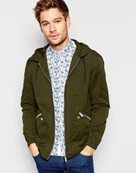 Brave Soul Zip Through Jacket With Hood Green