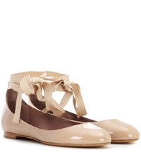 Tabitha Simmons Daria Patent Leather Ballerinas Neutrals