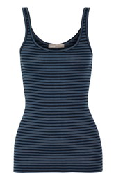Vince Striped Ribbed Pima Cotton And Modal Blend Tank Storm Blue