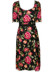 Dolce And Gabbana Floral Print Dress Cotton Polyamide Acetate Viscose Black