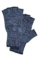 Men's Upstate Stock 'Ragg' Fingerless Wool Blend Knit Gloves Blue Powder Melange