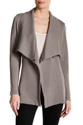 Heather By Bordeaux Long Fleece Tie Closure Jacket Gray