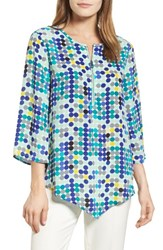 Chaus Women's Dotted Lights Zip Front Blouse