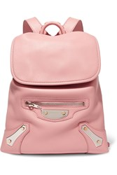 Balenciaga Traveller Textured Leather Backpack Baby Pink