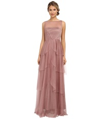 Donna Morgan Mesh Gown With Illusion Hibiscus Tea Women's Dress Brown