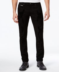 Inc International Concepts Men's Faux Leather Trim Skinny Jeans Only At Macy's Black