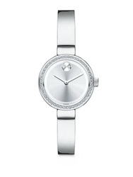 Movado Bold Diamond And Stainless Steel Bangle Bracelet Watch Silver