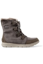 Sorel Explorer Joan Faux Fur Trimmed Waterproof Suede And Leather Ankle Boots Gray