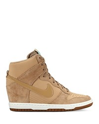 Nike Lace Up High Top Wedge Sneakers Women's Dunk Sky Hi Embossed Taupe