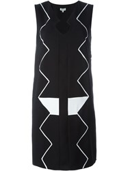 Kenzo Zig Zag Embroidered Dress Black