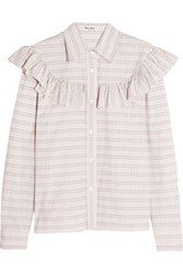 Miu Miu Ruffle Trimmed Checked Cotton Poplin Shirt Ivory
