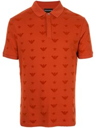 Emporio Armani All Over Logo Polo Shirt Orange