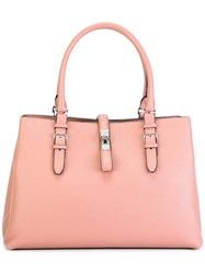 Bally Buckled Strap Tote Pink Purple