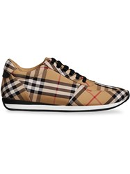 Burberry Vintage Check Cotton Sneakers Yellow And Orange