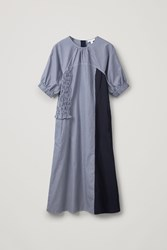Cos Smocked Cotton Dress Blue