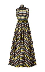Emilia Wickstead Dorothea Short Sleeved Gown Stripe