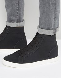 Asos High Top Trainers In Black Faux Suede Black