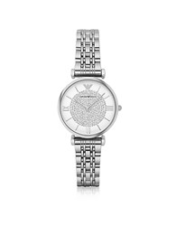 Emporio Armani T Bar Silvertone Stainless Steel Women's Watch W Crystals Dial