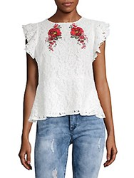 Lea And Viola Embroidered Lace Top White Lace